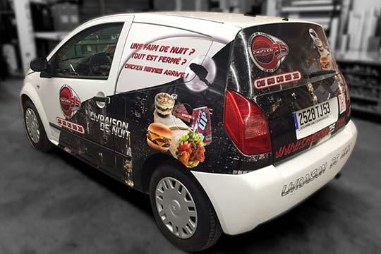 Chicken 35 - flocage véhicule microperforé - Agraph Publicité - agence publicitaire - Melesse (35)