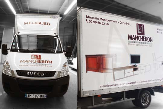 Mancheron - habillage caisse de camion - Agraph Publicité - agence publicitaire - Melesse (35)