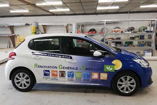 Rénovation Générale d'Émeraude - flocage véhicule - Agraph Publicité - agence publicitaire - Melesse (35)