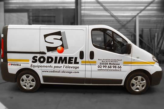 Sodimel - flocage véhicule - Agraph Publicité - agence publicitaire - Melesse (35)