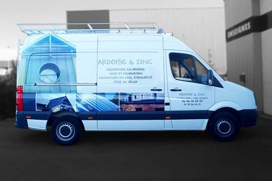 Ardoise & Zinc - flocage véhicule adhésif - Agraph Publicité - agence publicitaire - Melesse (35)