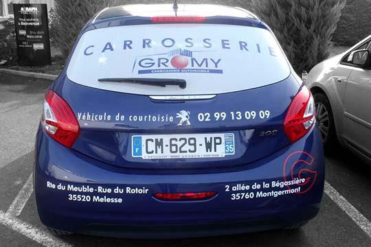 Carroseerie Gromy - décor véhicule - Agraph Publicité - agence publicitaire - Melesse (35)