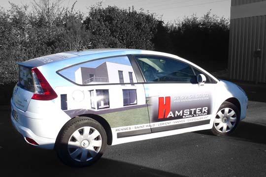 Hamster - décor véhicule - Agraph Publicité - agence publicitaire - Melesse (35)