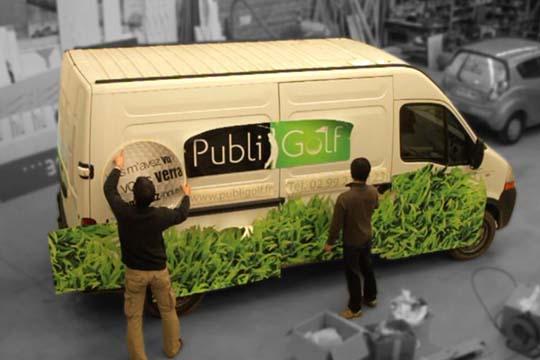 Publi Golf - décor véhicule - Agraph Publicité - agence publicitaire - Melesse (35)