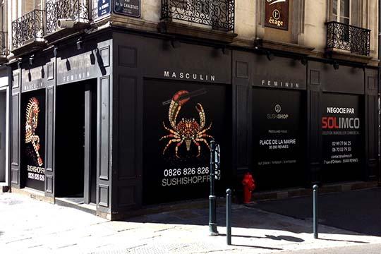 Sushi Shop - adhésif décor vitrine - Agraph Publicité - agence publicitaire - Melesse (35)