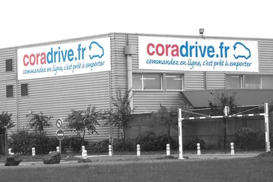 Coradrive.fr toile tendue - Agraph Publicité - agence publicitaire - Melesse (35)