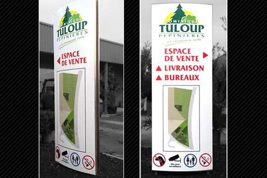 Tuloup Pépinières - totem directionnel - Agraph Publicité - agence publicitaire - Melesse (35)
